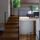 平岸の家 KWHの写真 階段から居間を見る