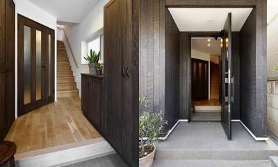 エアコンが苦手な奥様に 一年を通して温度変化の少ない家 (風格漂う玄関)