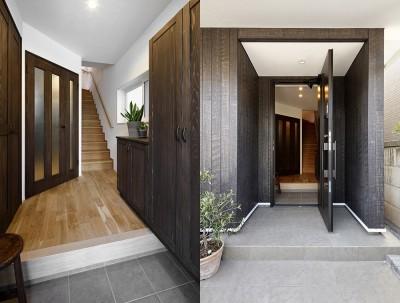 風格漂う玄関 (エアコンが苦手な奥様に 一年を通して温度変化の少ない家)