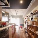 CAFEで暮らす~色遊びを楽しむ家~の写真 キッチン収納