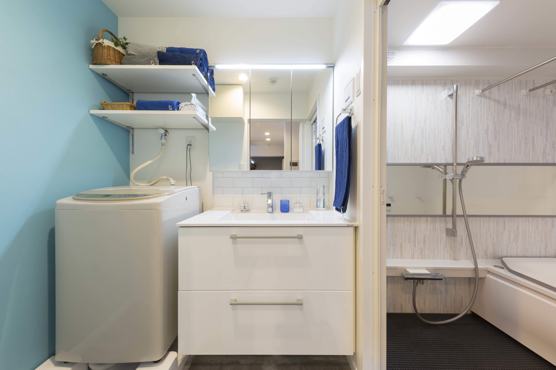 バス/トイレ事例:ゆったり使える洗面室と浴室(親子のこだわり満載。「好き」と「素敵」が溢れるリノベーション)