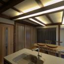 『図書館のある家』~そこに住むことの楽しさを追求した住宅~の写真 構造材を使った間接照明のあるダイニングキッチン