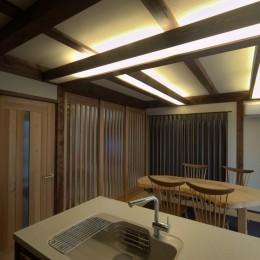 『図書館のある家』~そこに住むことの楽しさを追求した住宅~ (構造材を使った間接照明のあるダイニングキッチン)