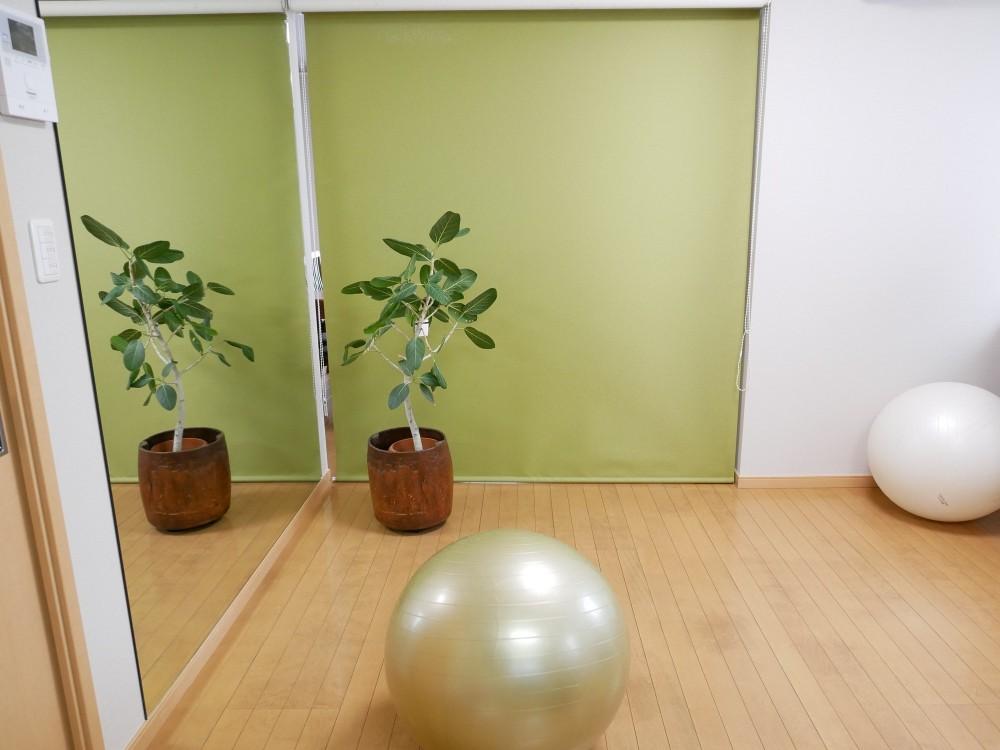 大きな鏡が2面、ヨガスタジオリフォーム (大きな鏡を入れました)