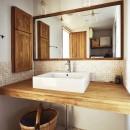 室内干しできるインナーテラスのある住まいの写真 こだわりの洗面室