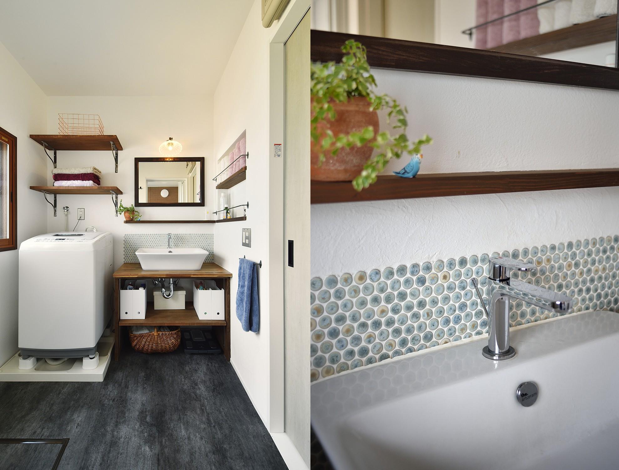 バス/トイレ事例:マニッシュな洗面スペース(お家カフェ ダイニングをカフェスタイルに)