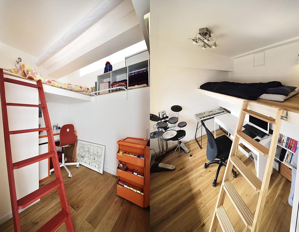 子供部屋事例:ロフト付きの子供部屋(狭さはアイデアで解消!すっきりおしゃれな住まい)