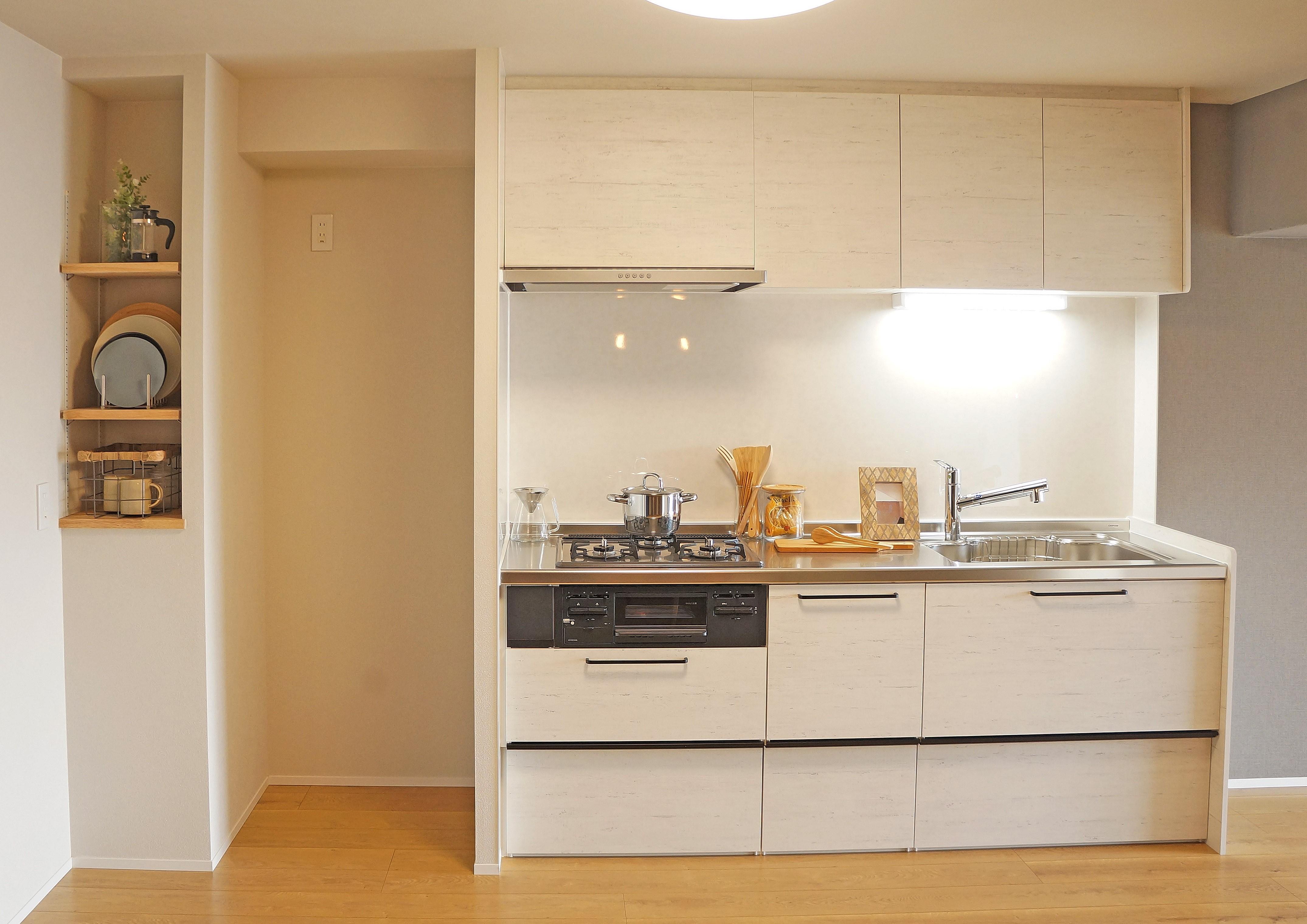 キッチン事例:キッチン(素材の質感を楽しむリノベーション)