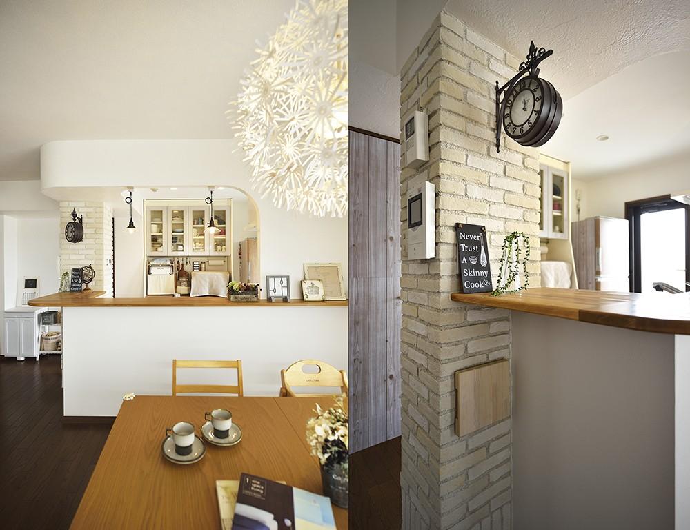 キッチン事例:ちょっぴりカフェスタイル(変えられない構造を活かす フレンチスタイルキッチンへ)
