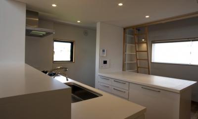 あざみ野南の住宅 / 一体空間の中に様々な居場所を設ける (キッチン、書斎)