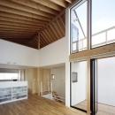 あざみ野南の住宅 / 一体空間の中に様々な居場所を設けるの写真 リビングダイニング、テラス、ロフト