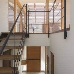 岡本の家/2階テラスを中心とした木の温もりを感じる心地よい住まい (2階のテラスに面した明るい階段)
