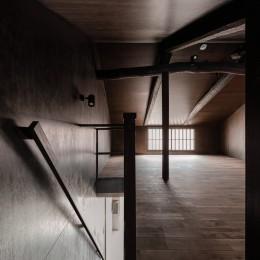 『RE長屋‐ITO2』~新:旧・モダン:和 のコラボ~(古民家再生) (2階ロフトから階段を見下ろす /小屋組を表したロフト)