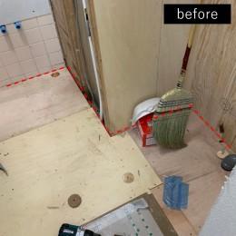 洗濯機置き場を作れない、コンパクトな脱衣室に洗濯機を置こう! (洗面所側のリフォーム途中)