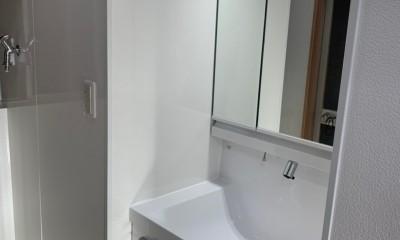 洗濯機置き場を作れない、コンパクトな脱衣室に洗濯機を置こう! (拡張した部分に洗面所を)