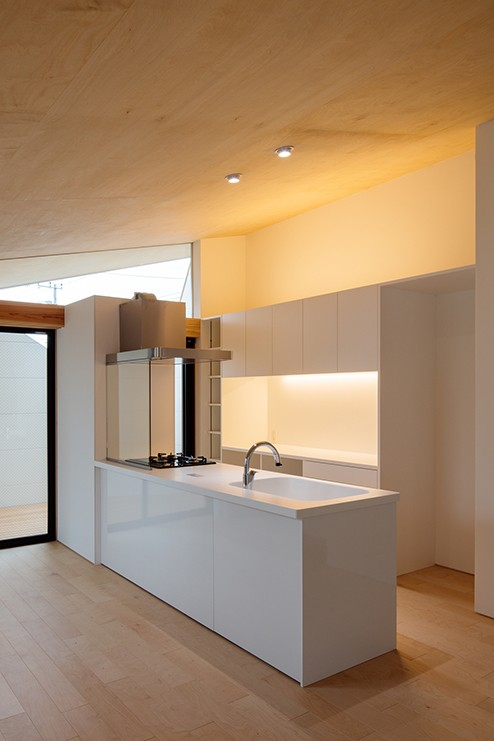 キッチン事例:対面キッチン(ミカンの木の育つ二世帯住宅 〜玄関と水回りを共有した大きな庭のある二世帯住宅〜)