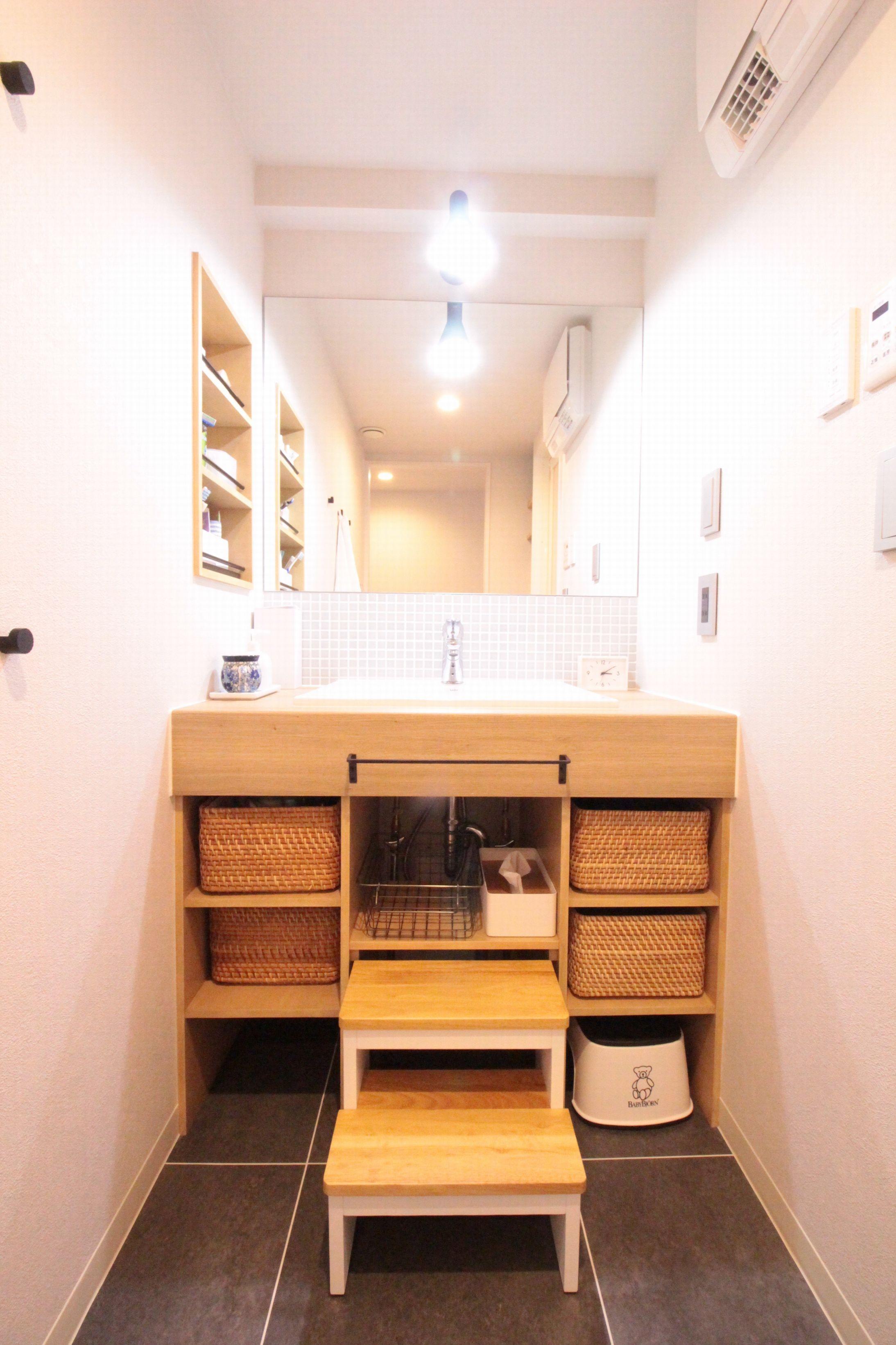 バス/トイレ事例:造作洗面台(回遊性で家事ラク!開放感で子どもが喜ぶ間取りに!)