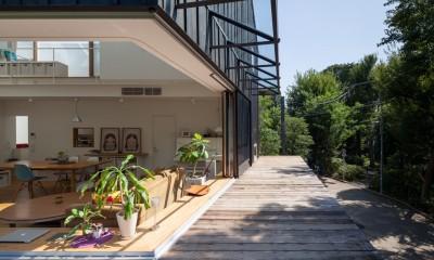 洗足池の住宅 (2階ウッドデッキ)