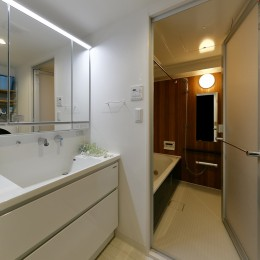 海を感じるブルーカラー (機能性・デザイン性に優れた洗面室とバスルーム)
