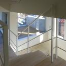 I邸 / 断面操作でスキマをつくり広がりと光を得るの写真 階段、吹き抜け、テラス