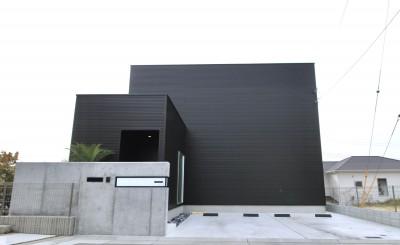 真っ黒な外観とは対照的な真っ白の内観の新築住宅【BLACK BOX HOUSE】 (外観)