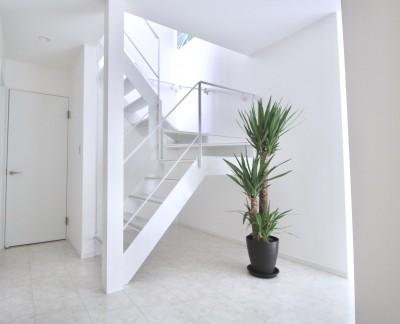 真っ黒な外観とは対照的な真っ白の内観の新築住宅【BLACK BOX HOUSE】 (玄関ホール)