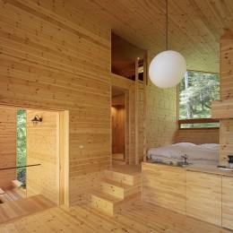 森の小屋/とっておきの時間を過ごすための小さな居場所 (広間からベッドスペースを見る)