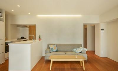 上質な質感に包まれた光と風・風景を楽しむ家 (キッチン・リビング)