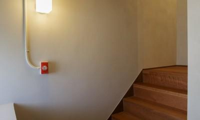 上質な質感に包まれた光と風・風景を楽しむ家 (階段)
