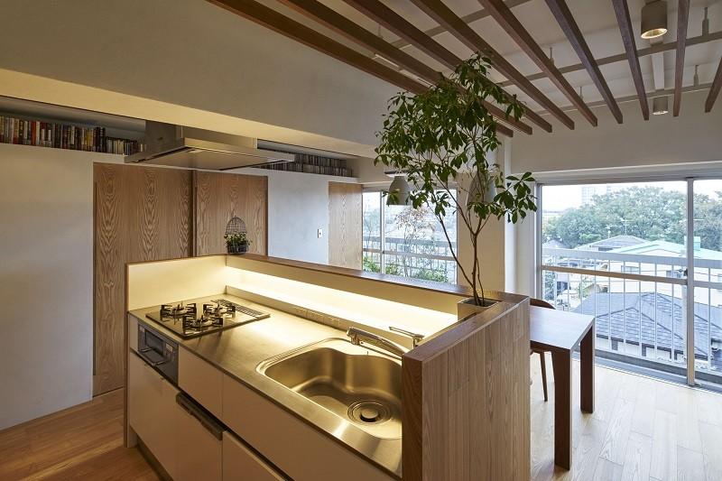家族の在り方を考え、自然と導かれた家 (キッチン)