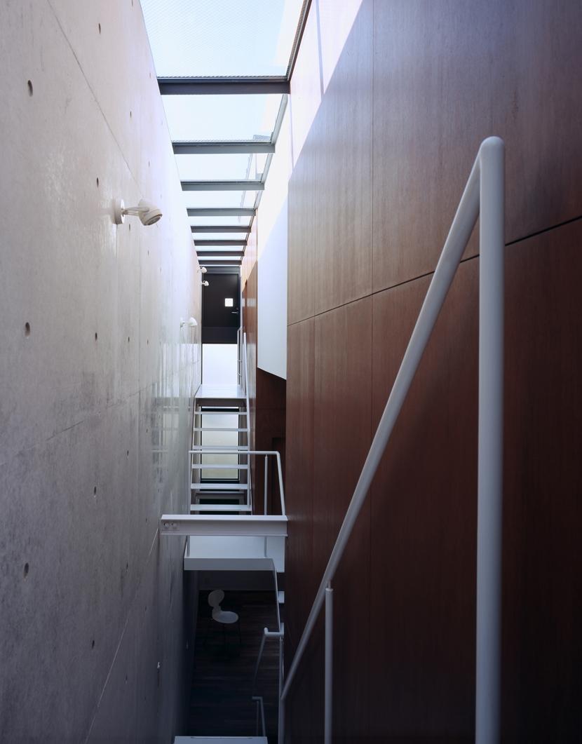 東北沢の住宅 / リビングに木の箱が浮遊するの写真 トップライト、吹き抜け、階段