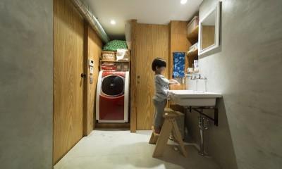 視覚的効果の高い、回遊する家 (洗面)