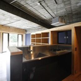 視覚的効果の高い、回遊する家 (キッチン)