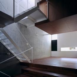 東北沢の住宅 / リビングに木の箱が浮遊する (リビング、吹き抜け、階段)