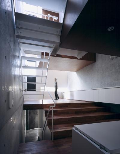 東北沢の住宅 / リビングに木の箱が浮遊する (リビングダイニング、吹き抜け、階段、玄関)