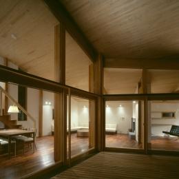 VILLA BOOMERANG / 八ヶ岳の別荘 (テラス、リビングダイニング、ライブラリー)