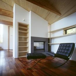 VILLA BOOMERANG / 八ヶ岳の別荘 (ライブラリー兼ゲストルーム、暖炉)