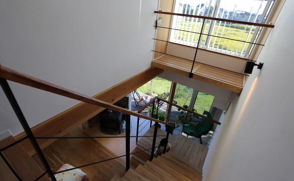 土間の家 (田園を望む階段)