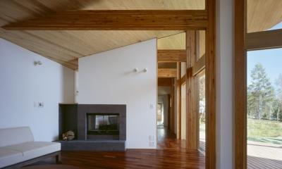 リビング、暖炉、テラス|VILLA BOOMERANG / 八ヶ岳の別荘