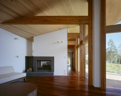 リビング、暖炉、テラス (VILLA BOOMERANG / 八ヶ岳の別荘)