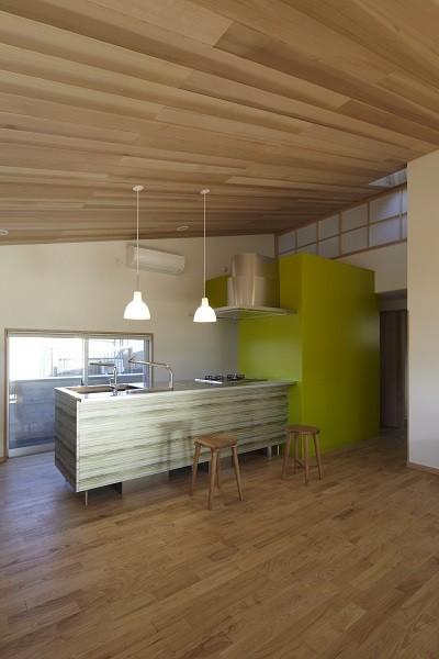 黒部丘の家~湘南の紙飛行機屋根の2世帯住宅 (キッチン)