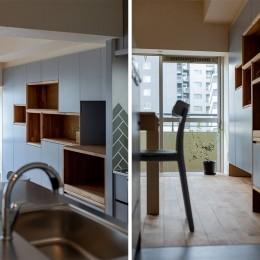 武蔵小山の家 「pique-nique house」 (キッチンからの造作家具)
