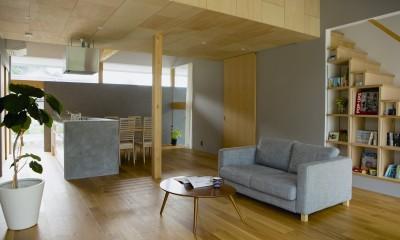 松尾の家2(ロフトで繋がる平屋の家) (吹き抜けリビング)