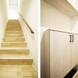 ブルーグレーのドアで海外風に (玄関・階段)