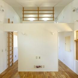 双子とピアニストの家 (リビングダイニングからロフトを眺める)