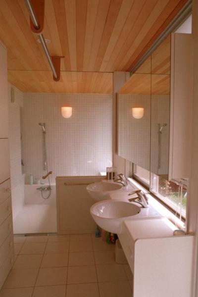 屋上庭園に面した洗面室とバスルーム (浅草の家―2階にある庭)