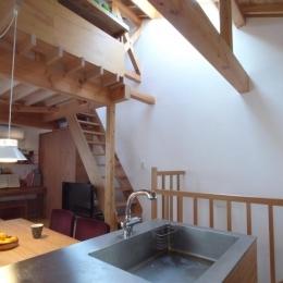 羽根木の家-9.5坪の敷地に (トップライトから光の落ちる階段)