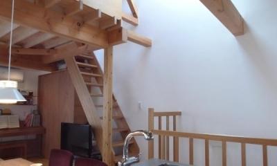 トップライトから光の落ちる階段|羽根木の家-9.5坪の敷地に