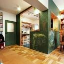 キッチン壁:黒板塗装