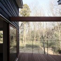森を眺める黒い家 (中庭型バルコニー2)